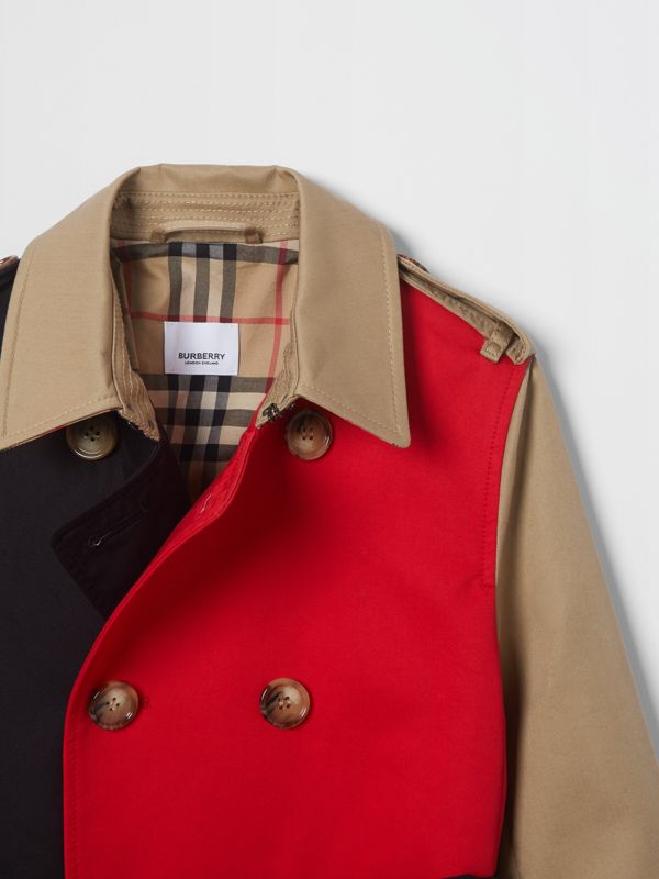 Colour Block Cotton Twill Trench Coat in Honey | Burberry - cell image 3