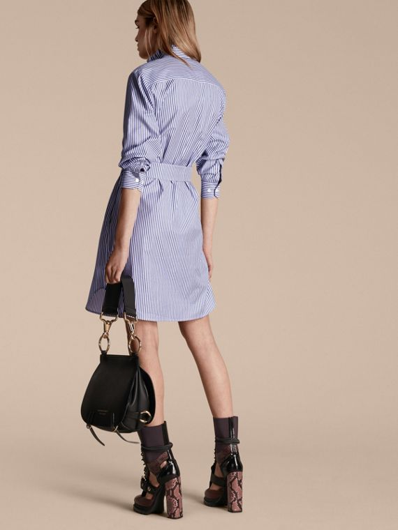 Navy Striped Cotton Shirt Dress with Ruffles - cell image 2