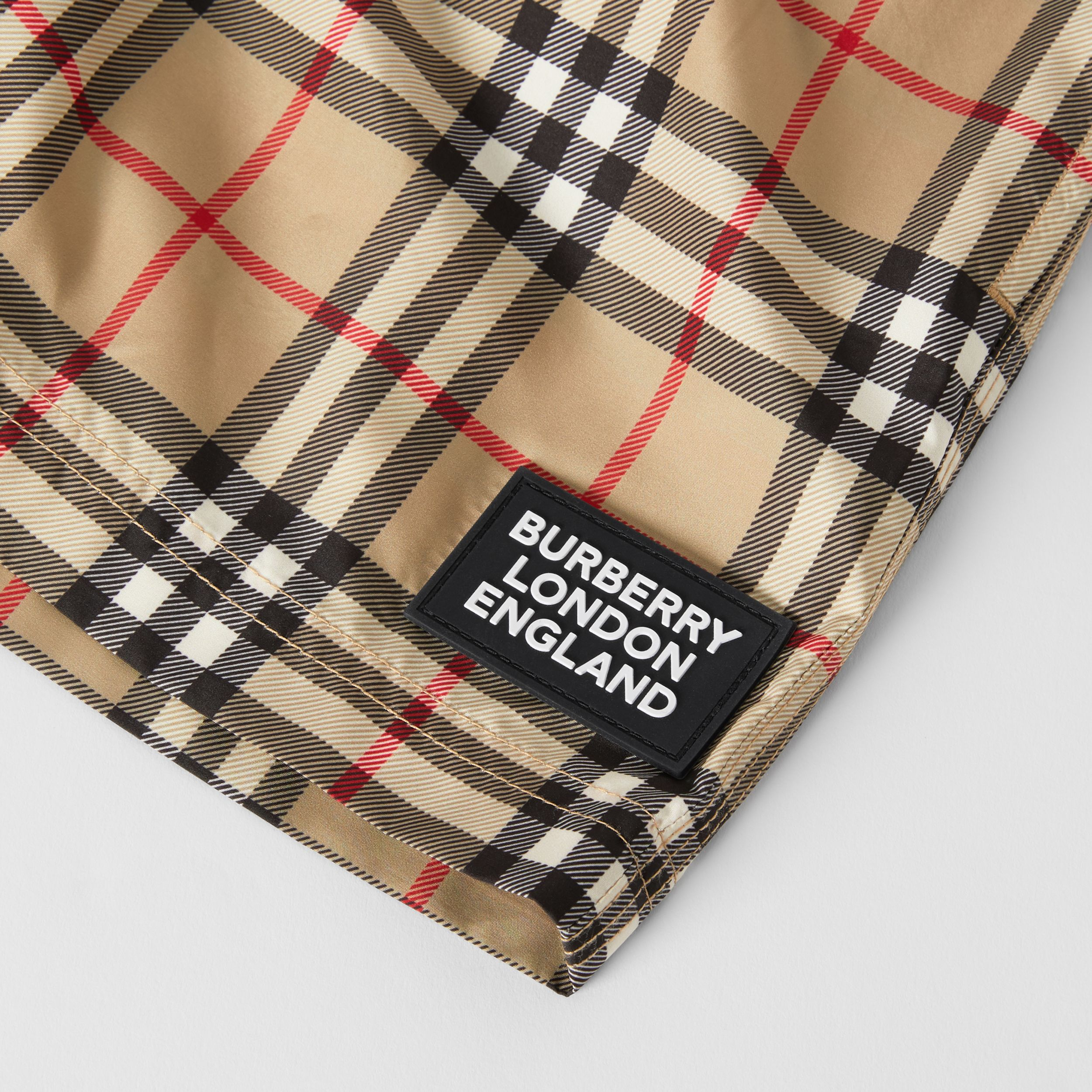 Logo Appliqué Vintage Check Swim Shorts in Archive Beige | Burberry - 2