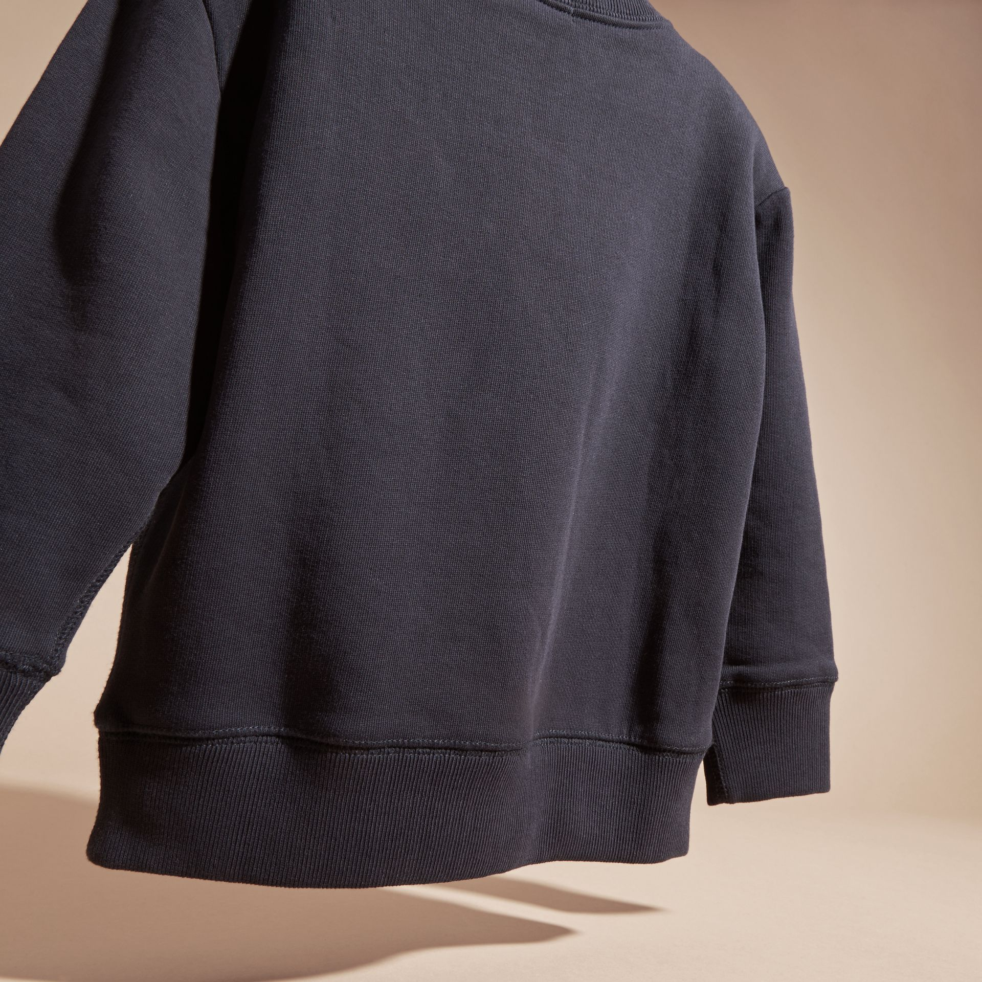 Dark navy Equestrian Knight Detail Cotton Sweatshirt Dark Navy - gallery image 4