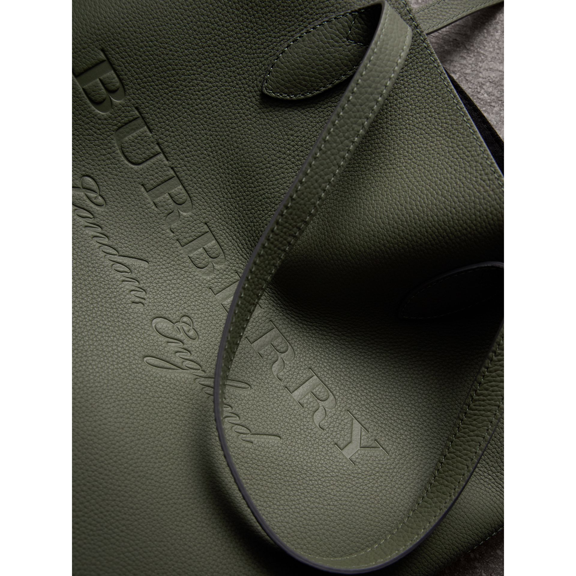 Medium Embossed Leather Tote in Slate Green | Burberry - gallery image 2