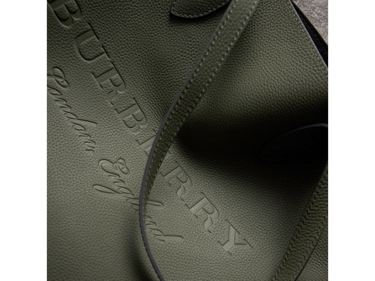 Medium Embossed Leather Tote in Slate Green | Burberry - cell image 1