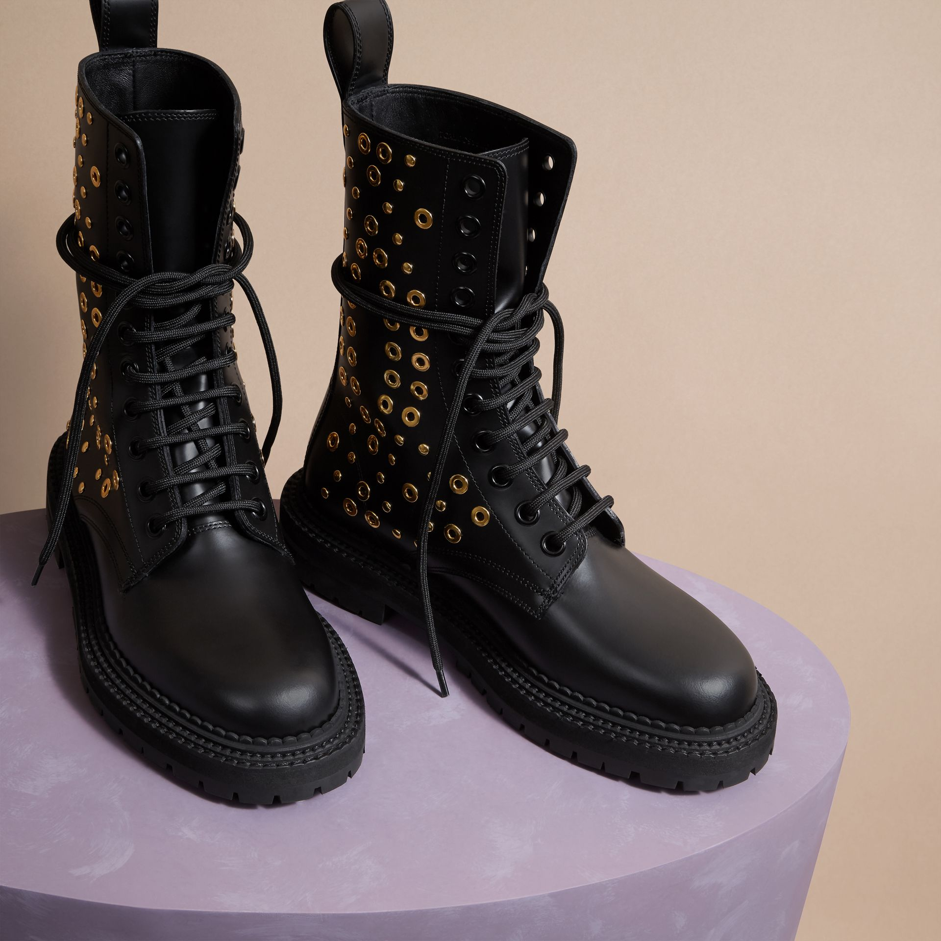 Black Eyelet and Rivet Detail Leather Army Boots - gallery image 3