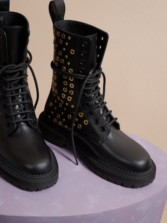 Black Eyelet and Rivet Detail Leather Army Boots - cell image 2