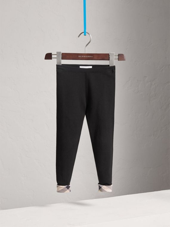 Stretch Cotton Leggings in Black - Girl | Burberry Australia - cell image 2