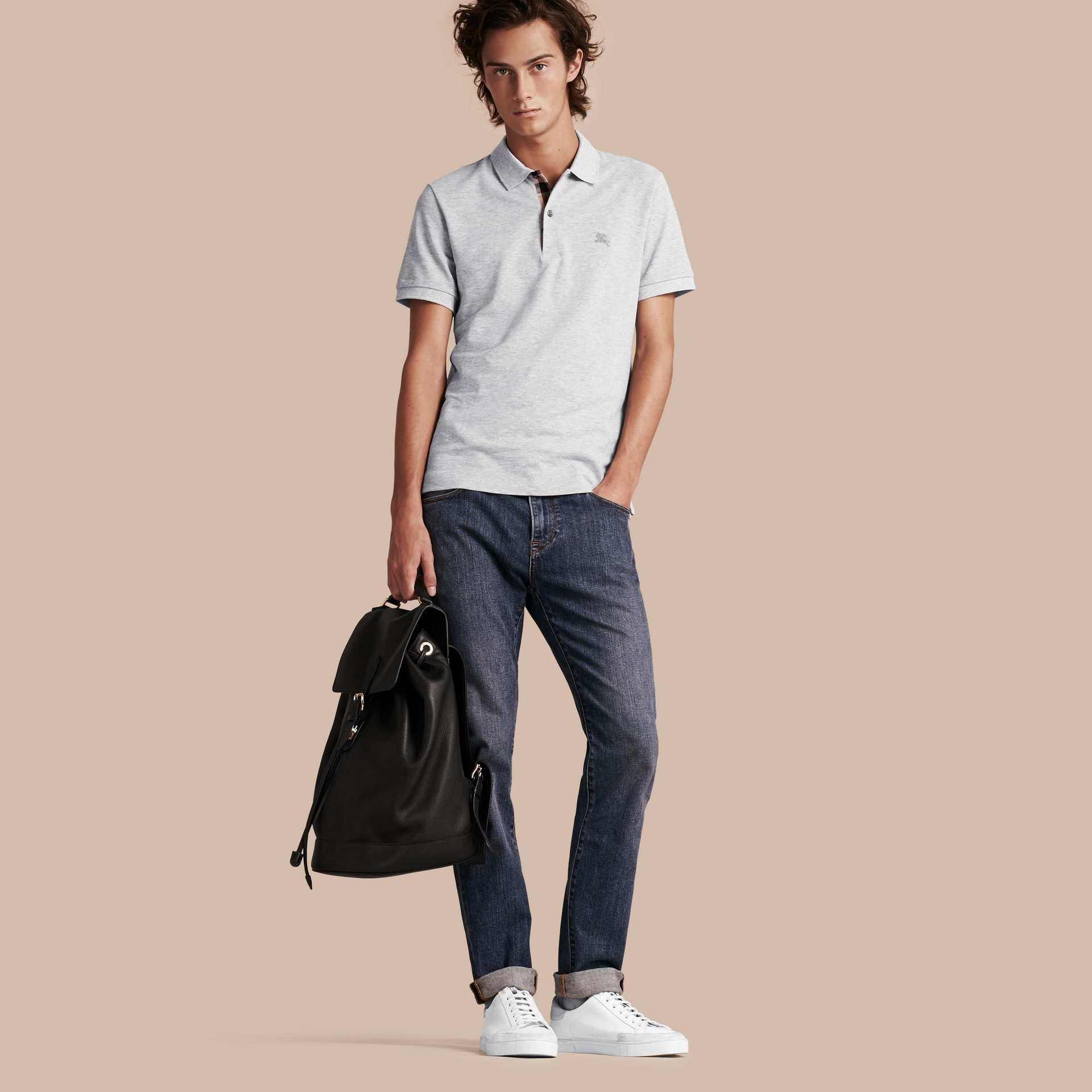 Check Placket Cotton Piqué Polo Shirt in Pale Grey Melange - Men | Burberry Canada - gallery image 1