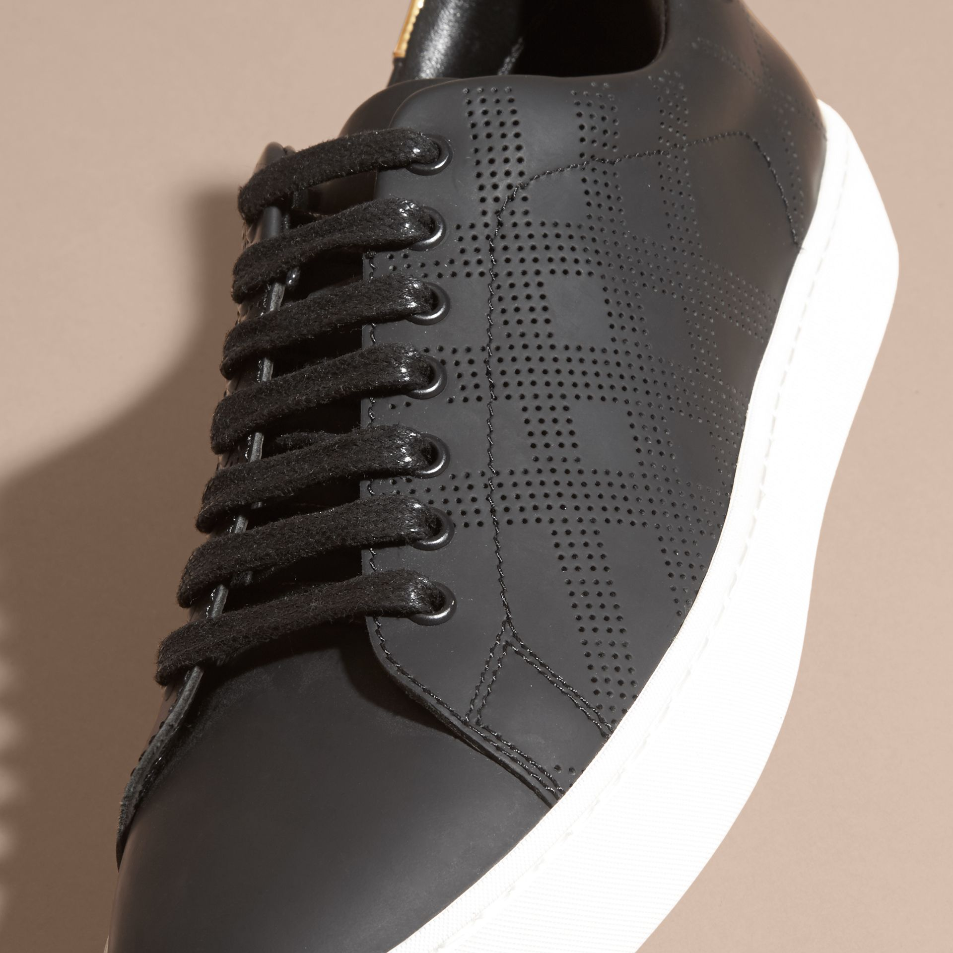Perforated Check Leather Trainers - gallery image 2