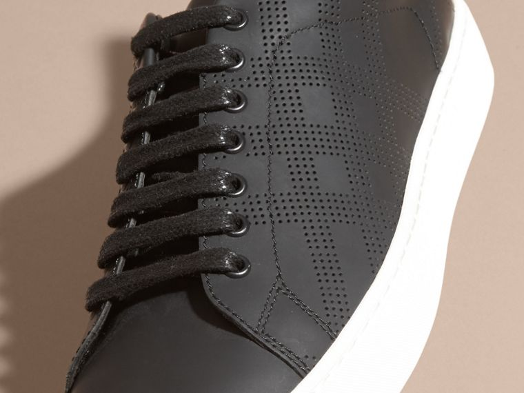 Perforated Check Leather Trainers - cell image 1