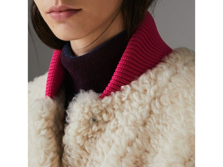 Two-tone Rib Knit Trim Shearling Gilet in Natural White - Women | Burberry - cell image 1