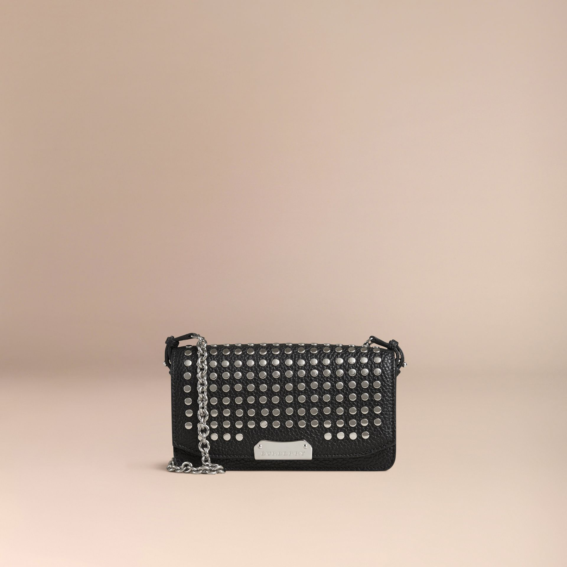 Black Studded Leather Clutch Bag with Chain - gallery image 7
