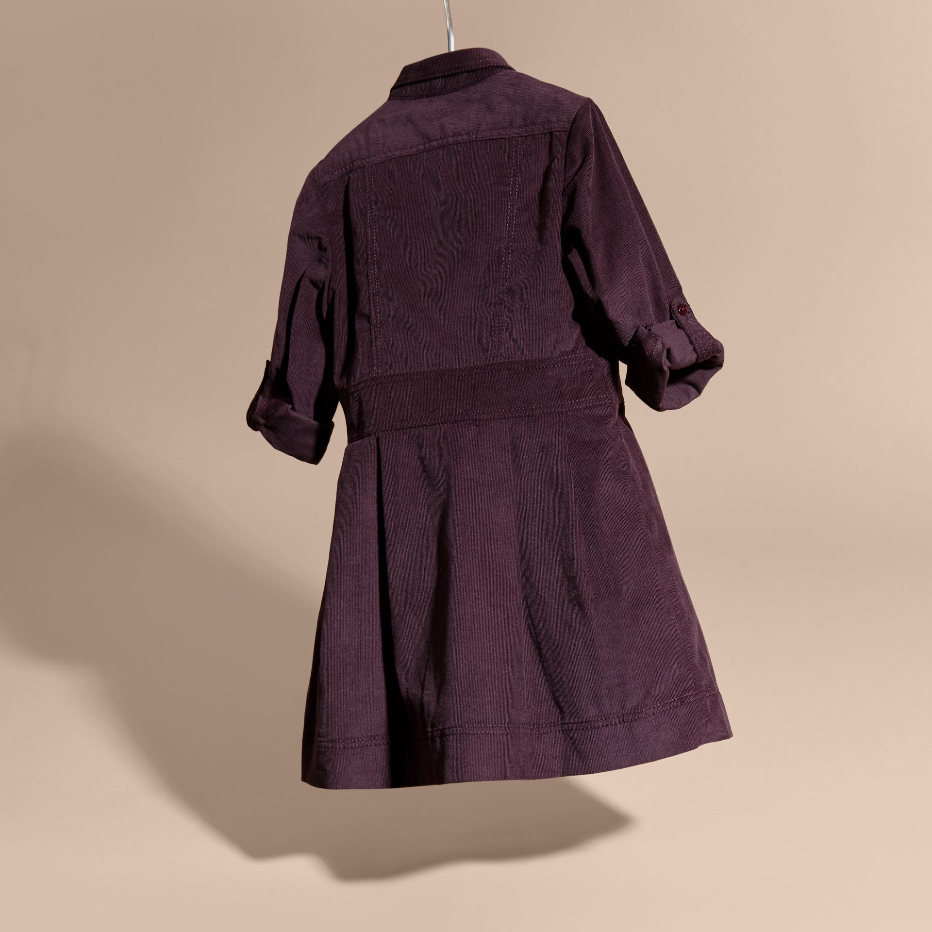 Blackcurrant Cotton Corduroy Shirt Dress Blackcurrant - gallery image 4
