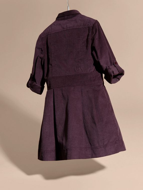 Blackcurrant Cotton Corduroy Shirt Dress Blackcurrant - cell image 3