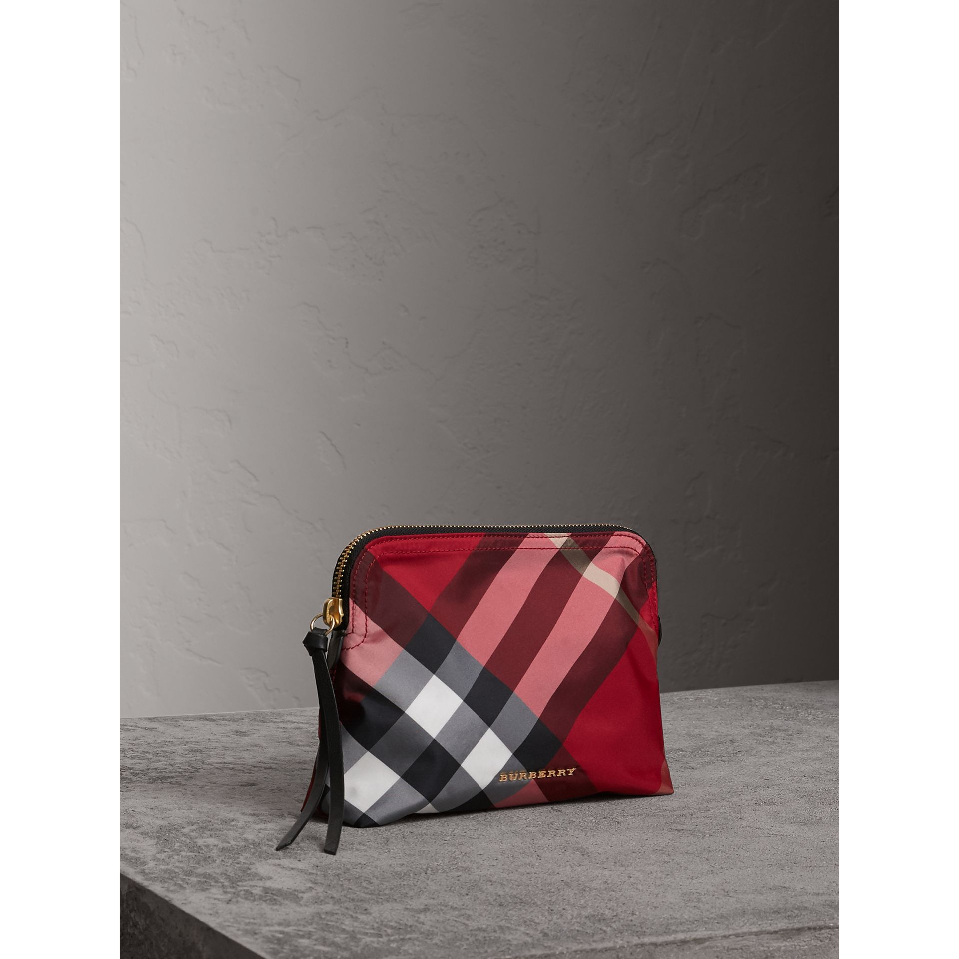 Large Zip-top Check Pouch in Parade Red - Women | Burberry - gallery image 6