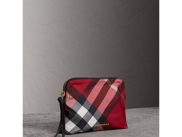 Large Zip-top Check Pouch in Parade Red - Women | Burberry - cell image 4