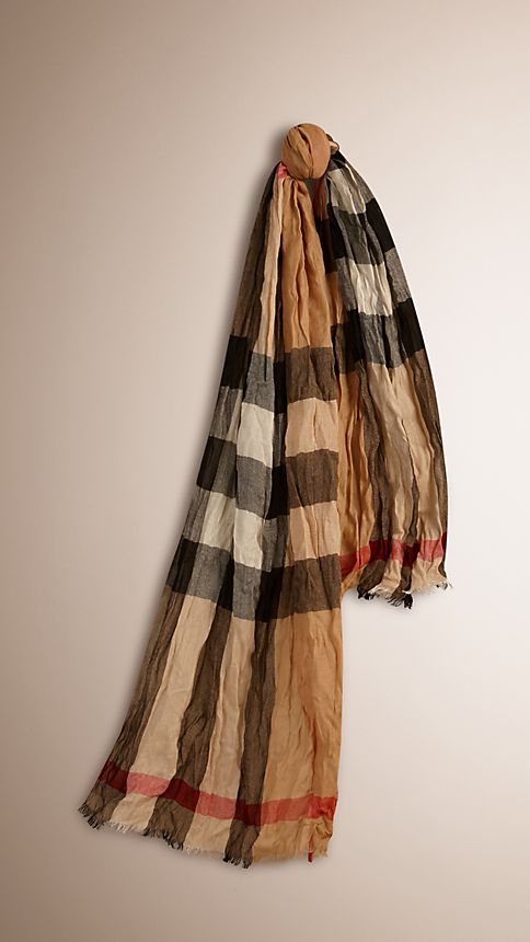 Camel check Check Cashmere Crinkled Scarf - Image 1