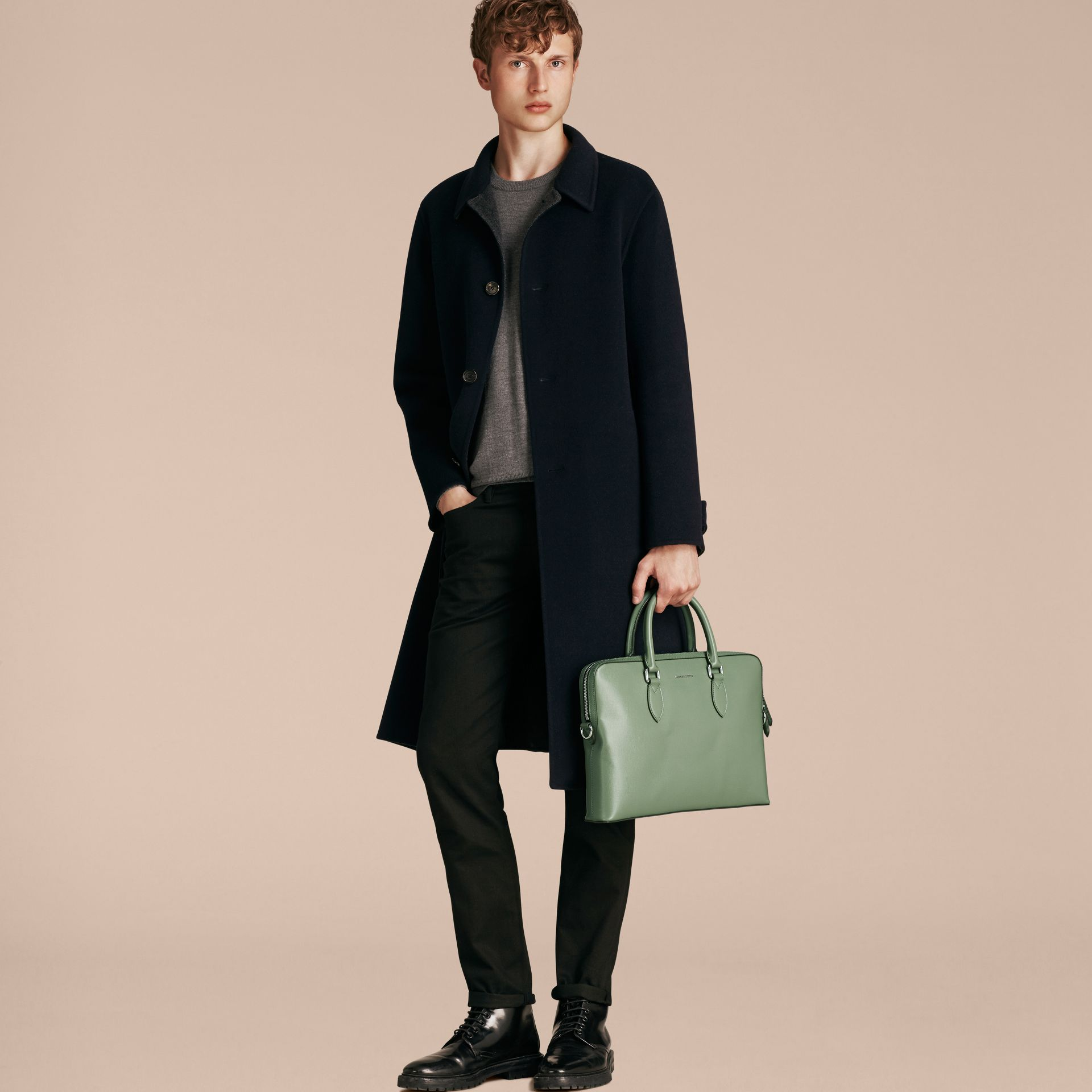The Slim Barrow in London Leather in Antique Green - Men | Burberry - gallery image 3
