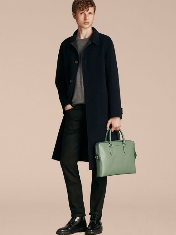 The Slim Barrow in London Leather in Antique Green - Men | Burberry - cell image 2