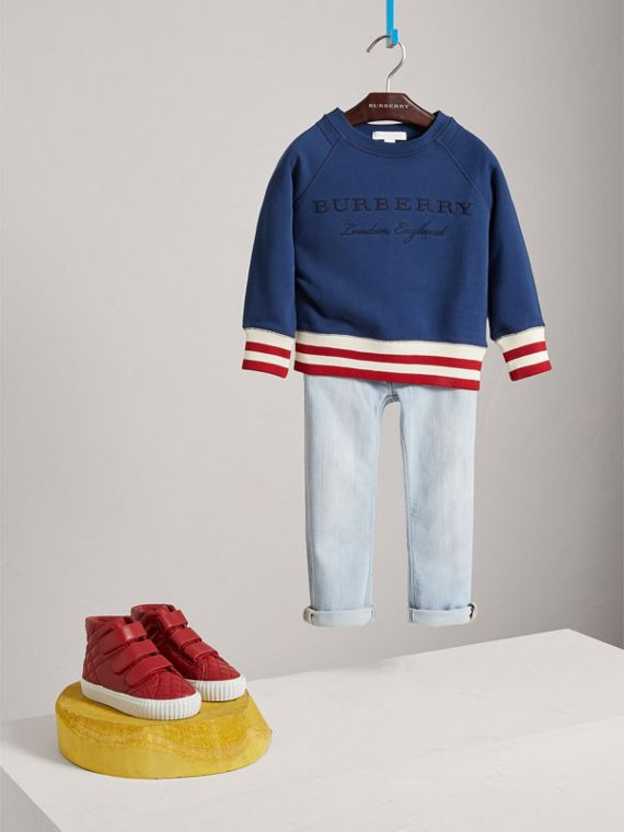 Striped Hem Embroidered Cotton Jersey Sweatshirt in Canvas Blue