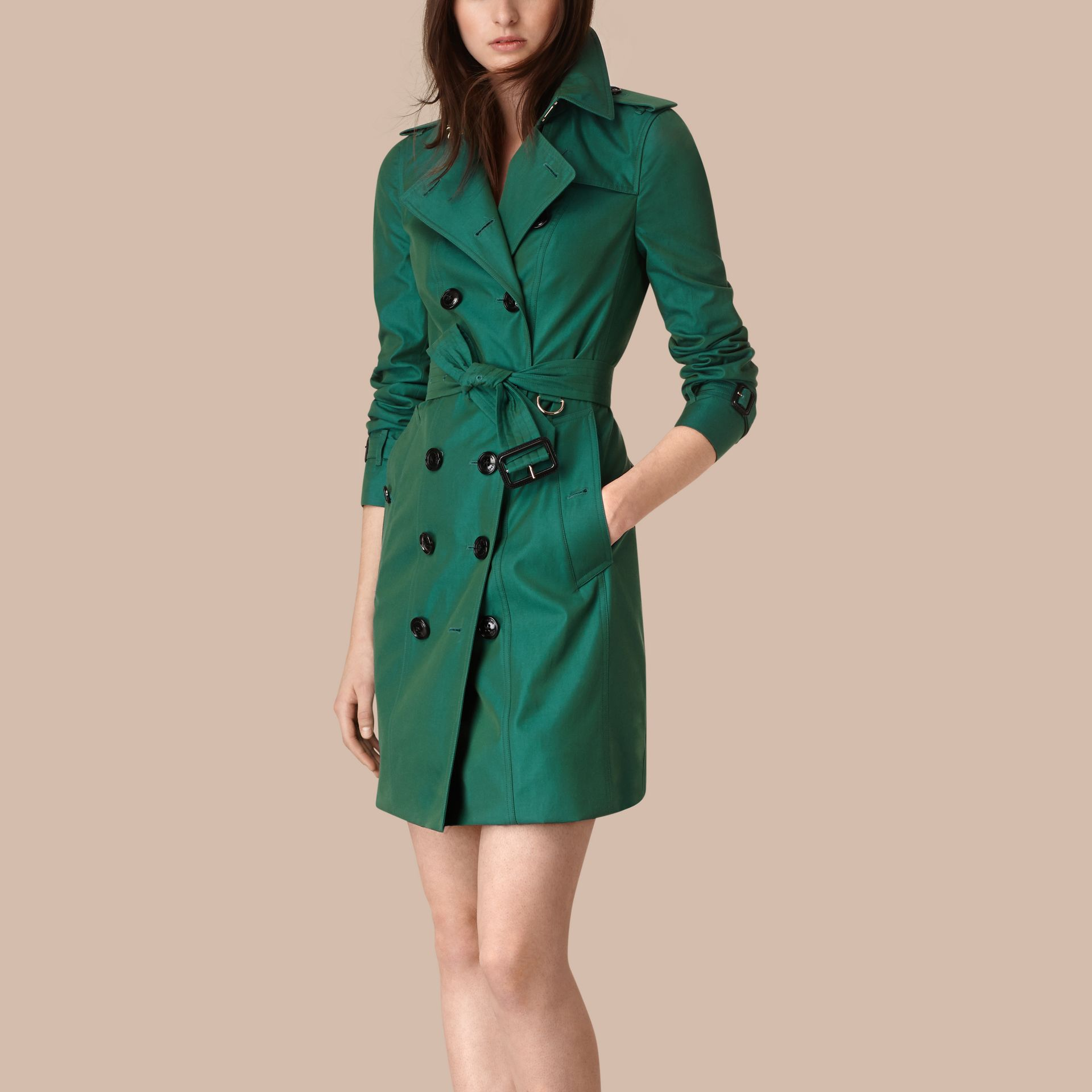 Aqua green Cotton Gabardine Trench Coat Aqua Green - gallery image 4