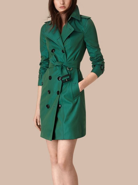Aqua green Cotton Gabardine Trench Coat Aqua Green - cell image 3