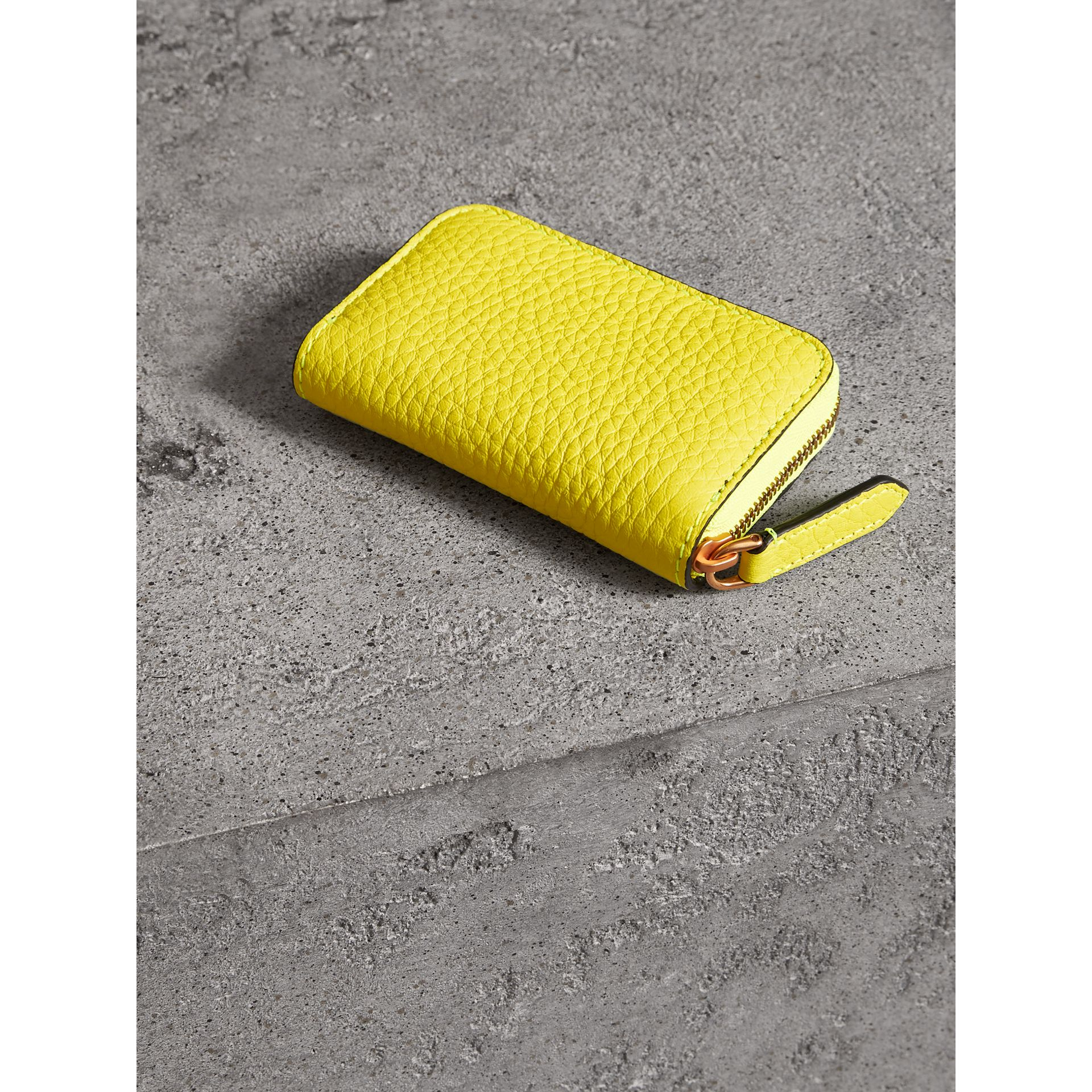Embossed Leather Ziparound Coin Case in Neon Yellow - Men | Burberry United Kingdom - gallery image 2