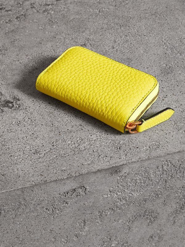 Embossed Leather Ziparound Coin Case in Neon Yellow - Men | Burberry United Kingdom - cell image 2
