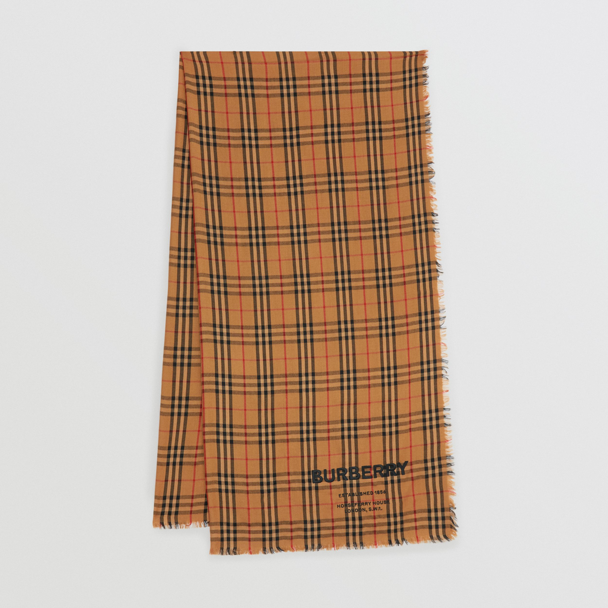 Embroidered Vintage Check Lightweight Cashmere Scarf in Overdyed Camel | Burberry - 1