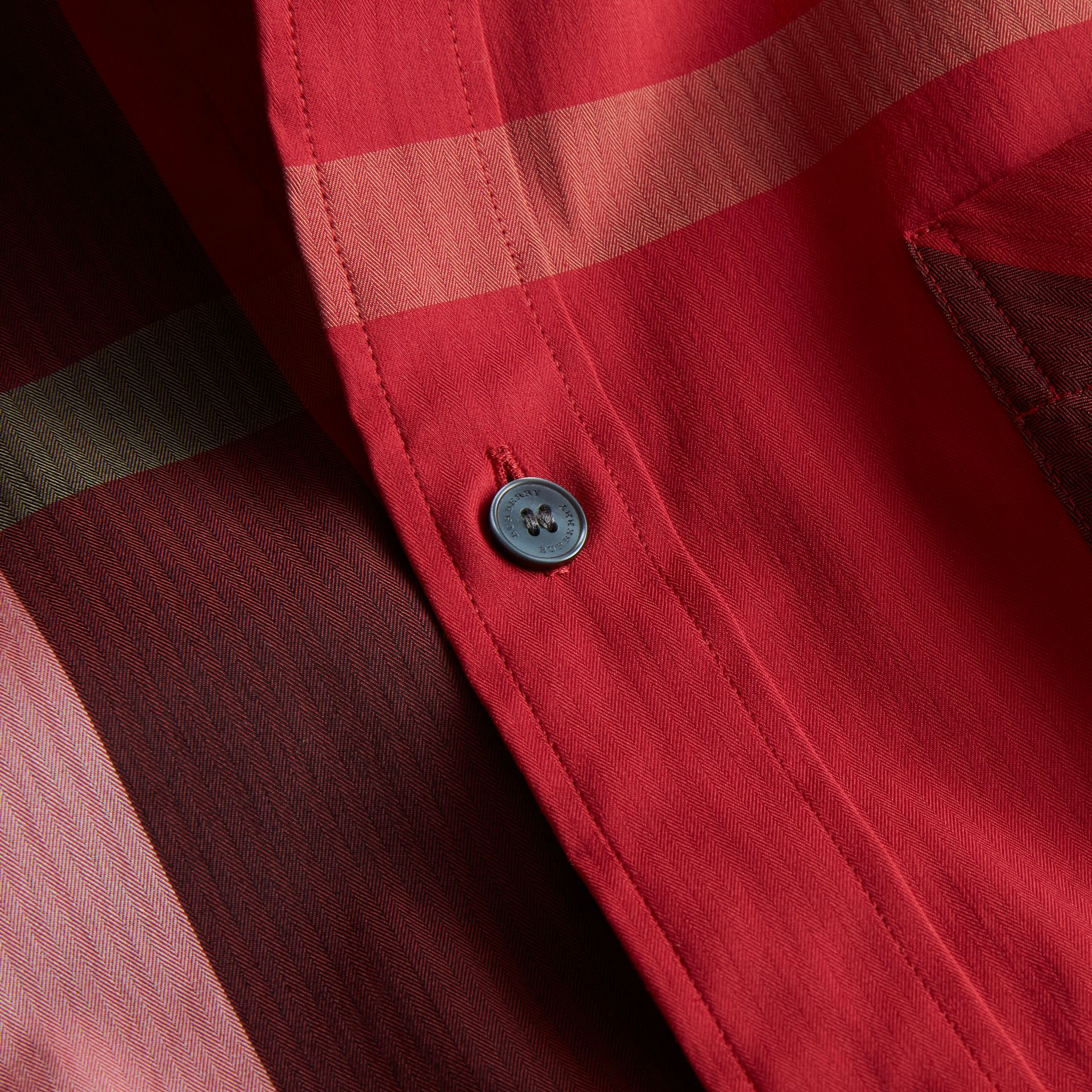 Button-down Collar Check Stretch Cotton Blend Shirt in Parade Red - Men | Burberry Australia - gallery image 2