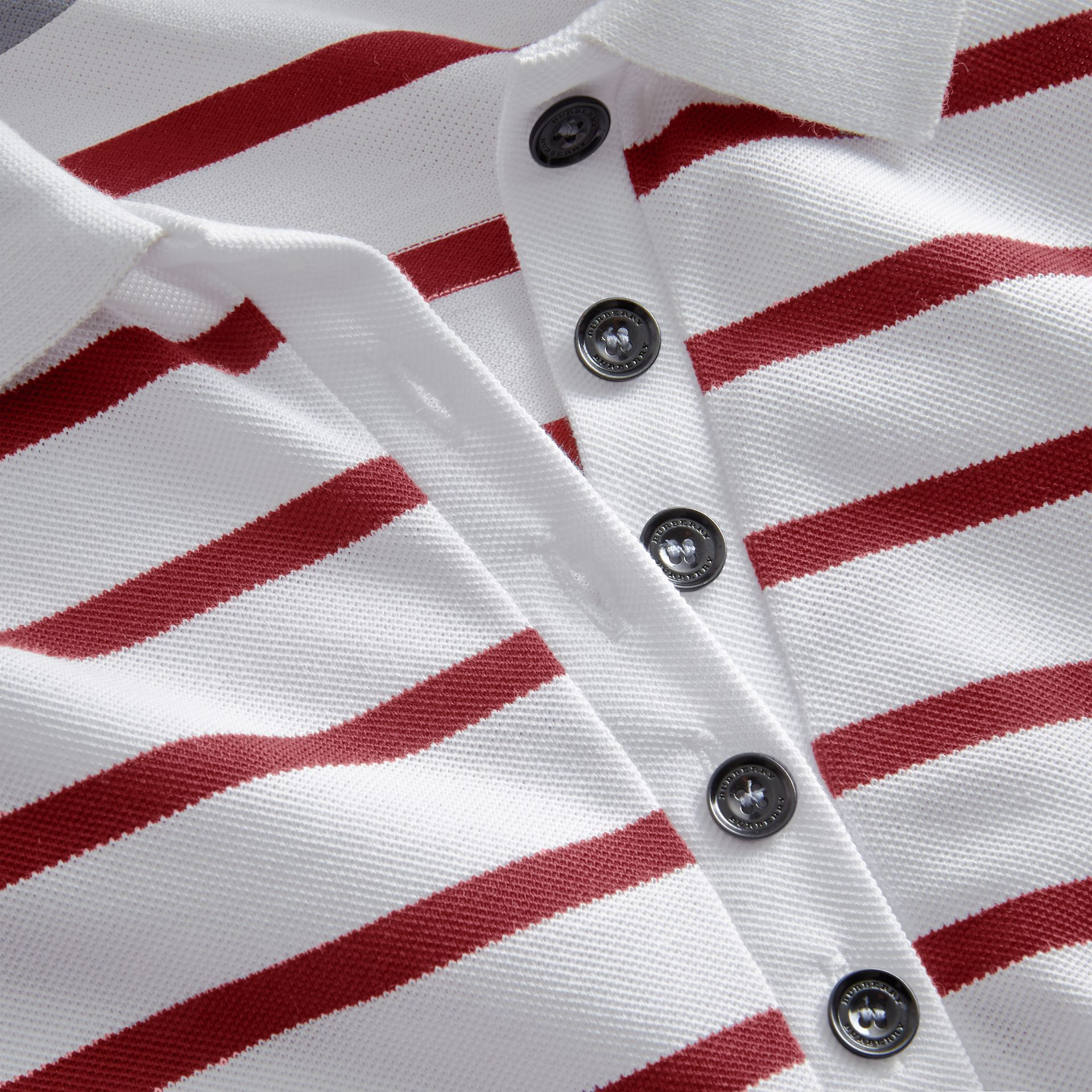 Striped Stretch Cotton Piqué Polo Shirt in White/parade Red - Women | Burberry - gallery image 2