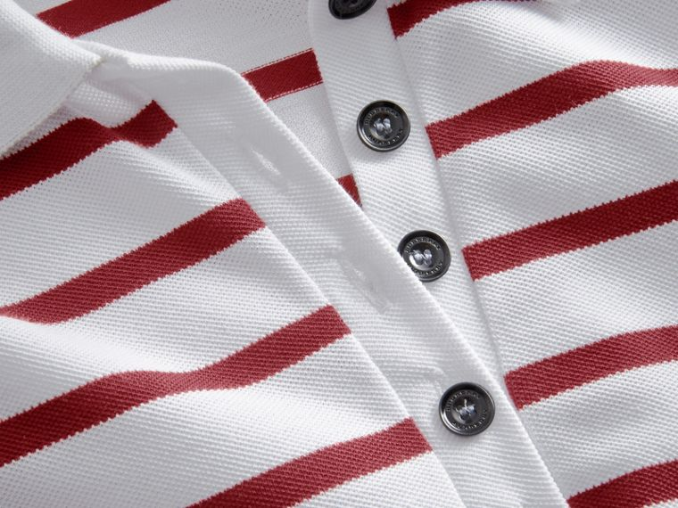 Striped Stretch Cotton Piqué Polo Shirt in White/parade Red - Women | Burberry - cell image 1