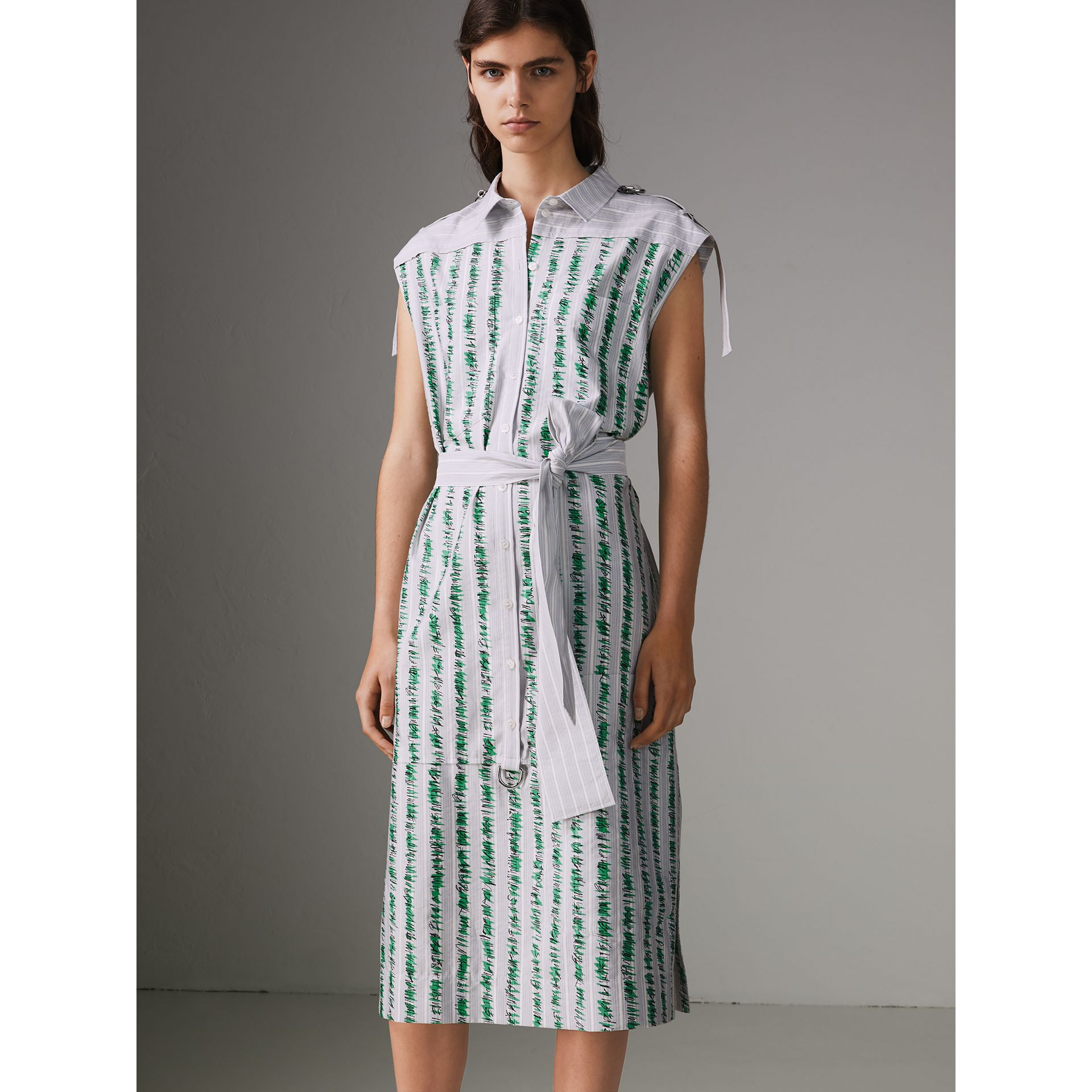 Scribble Stripe Cotton Shirt Dress in Bright Navy - Women | Burberry - gallery image 5
