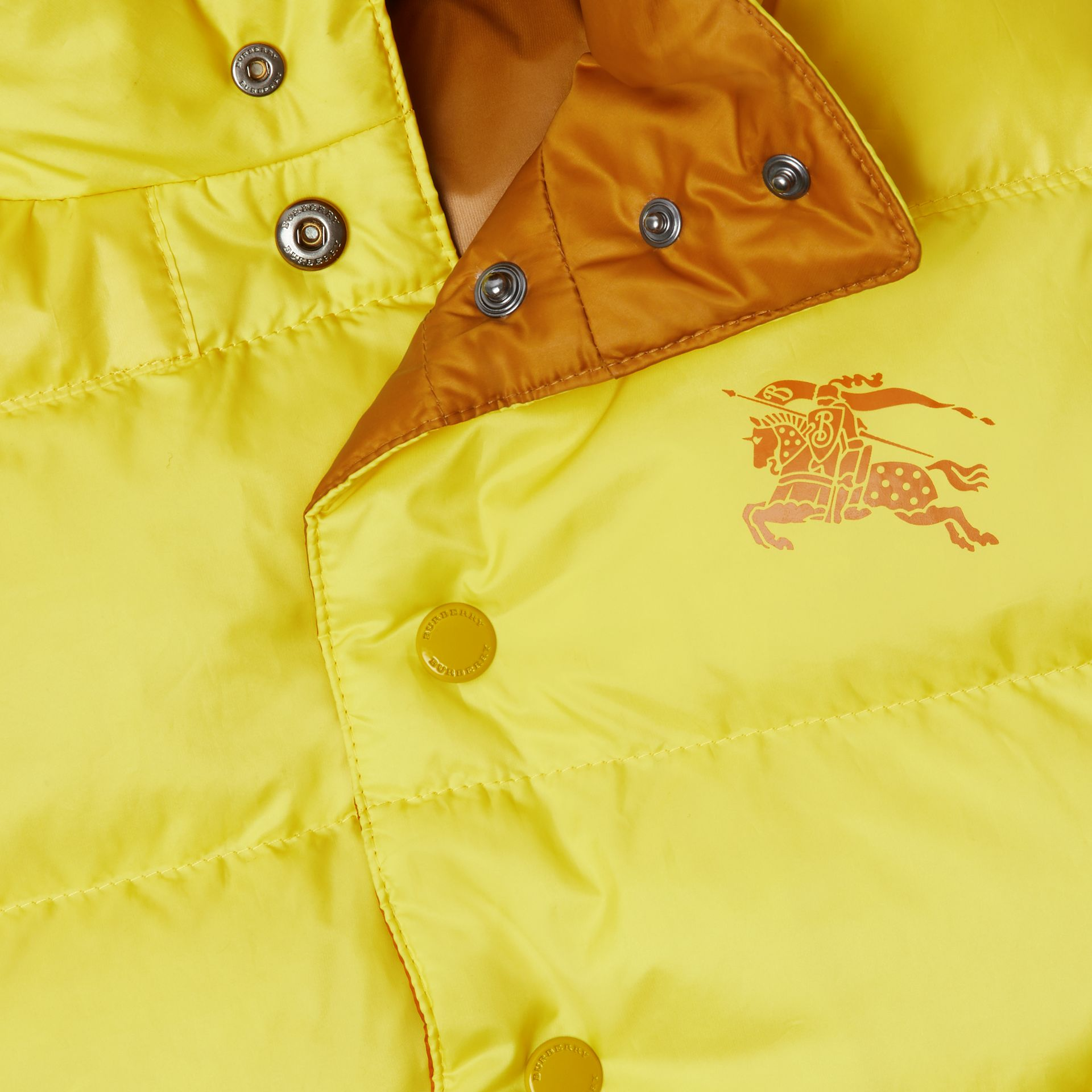 Reversible Showerproof Down-filled Hooded Gilet in Citrus Yellow | Burberry - gallery image 1
