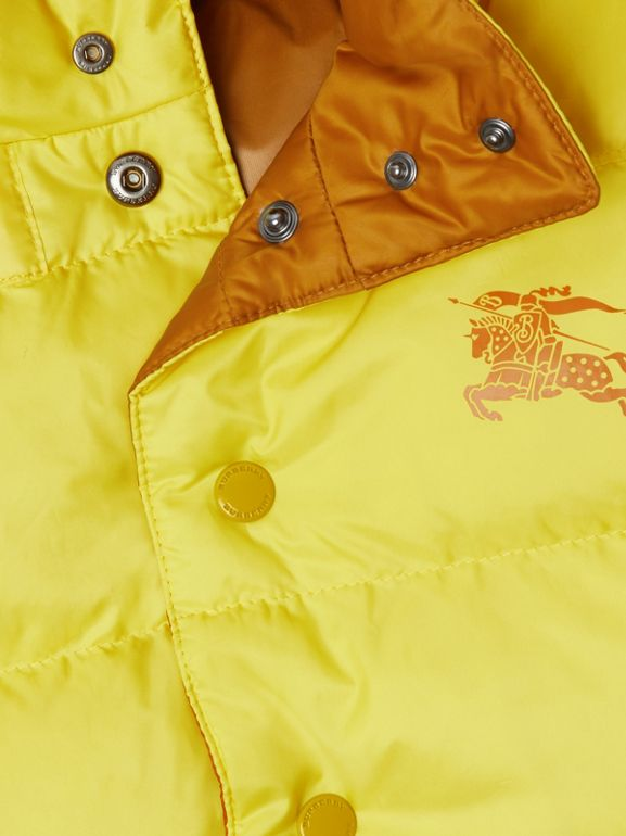 Reversible Showerproof Down-filled Hooded Gilet in Citrus Yellow | Burberry Australia - cell image 1