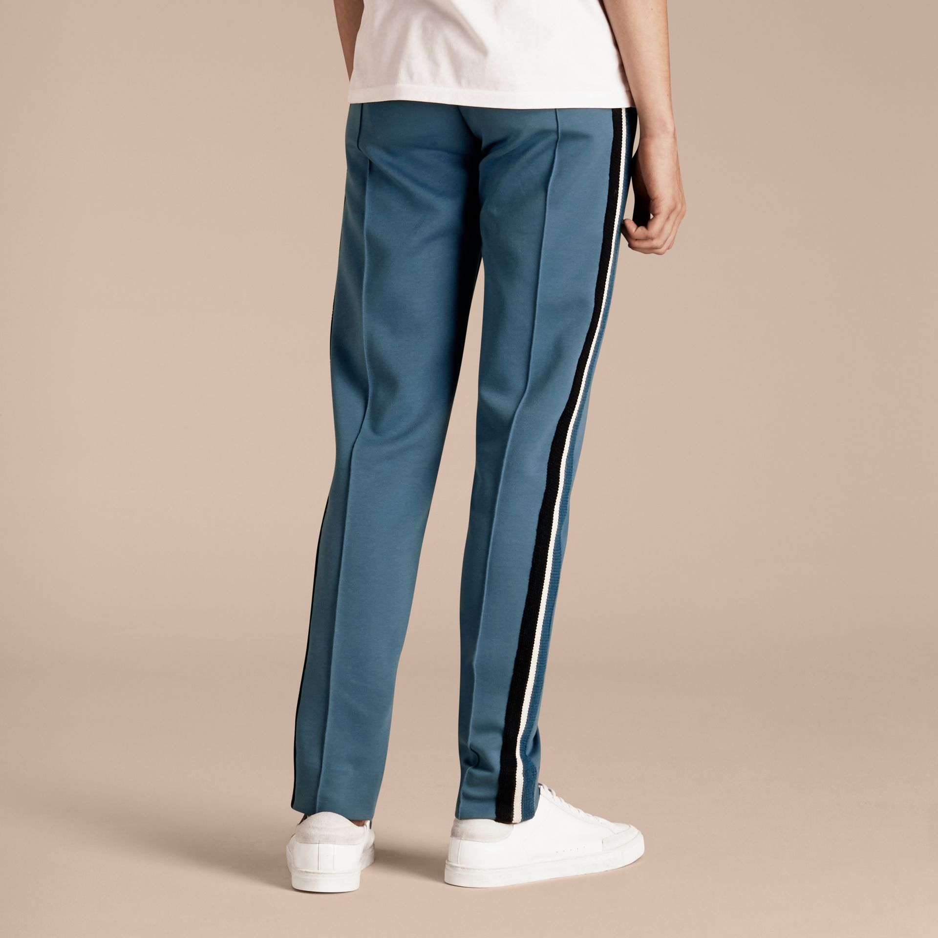 Sports-striped Cotton Blend Sweat Pants Mineral Blue - gallery image 3