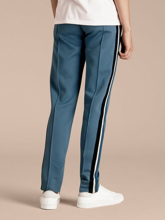 Sports-striped Cotton Blend Sweat Pants Mineral Blue - cell image 2