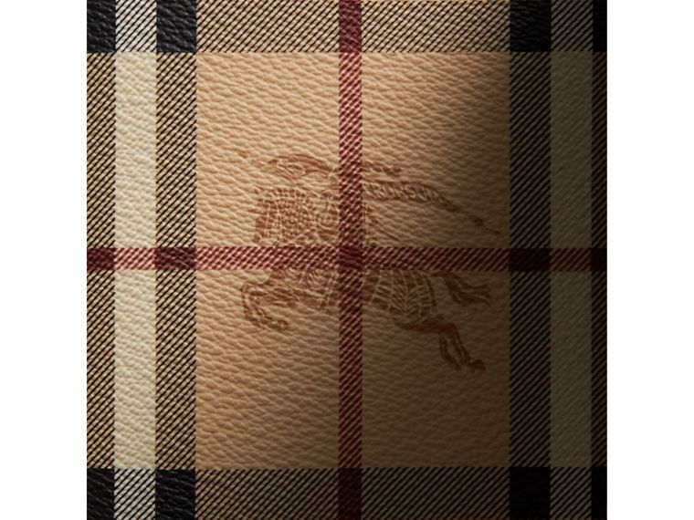 Haymarket Check and Leather Ziparound Wallet in Black - Men | Burberry United Kingdom - cell image 1