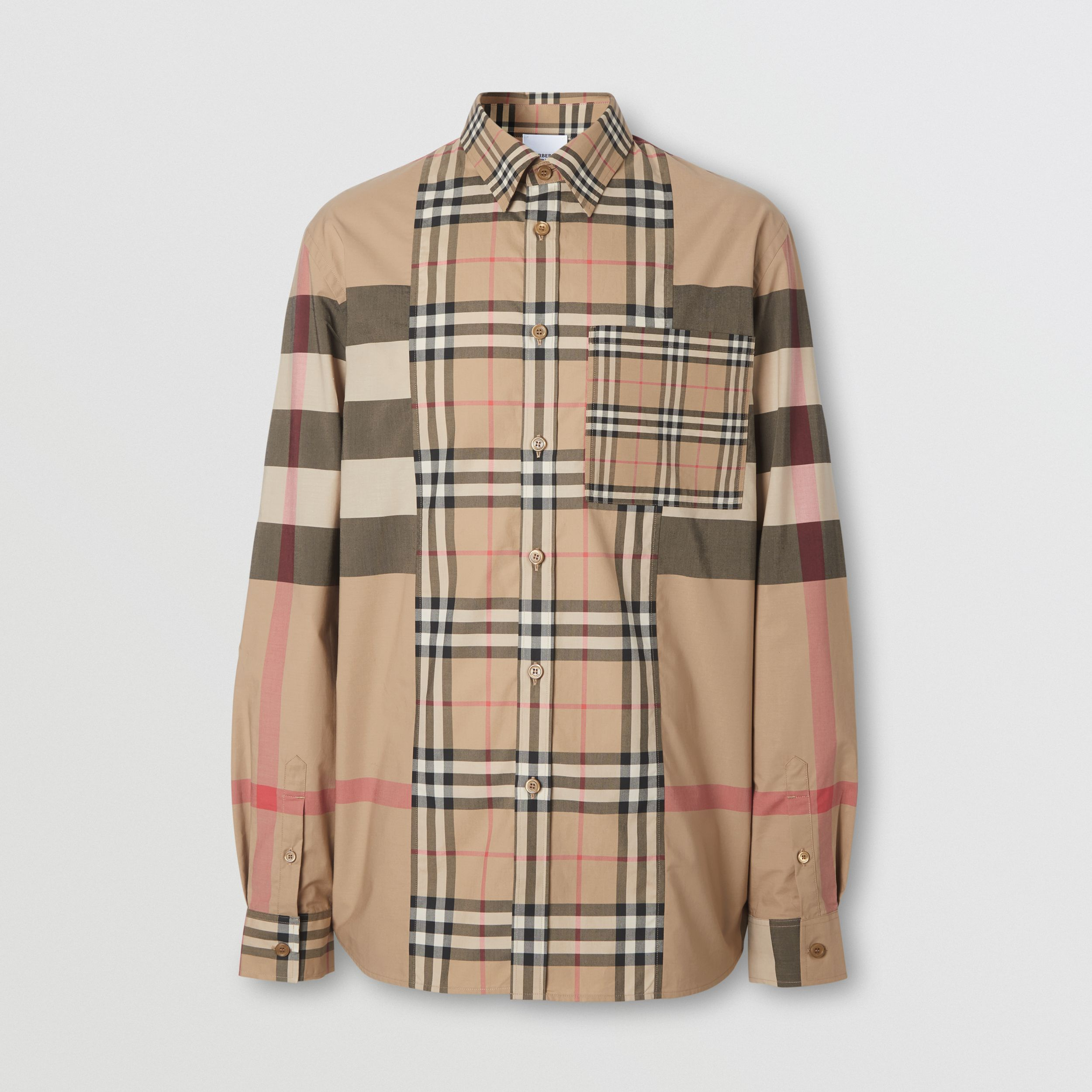 Patchwork Check Stretch Cotton Poplin Shirt in Archive Beige - Men | Burberry - 4
