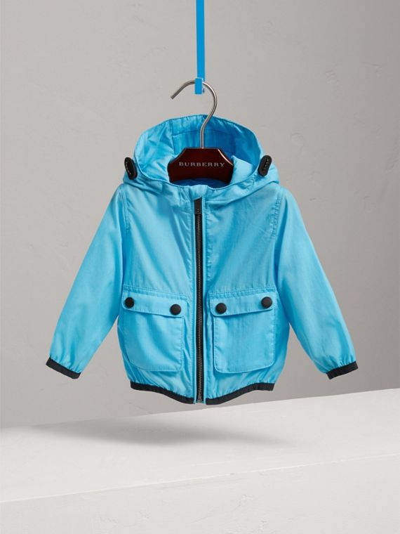 Showerproof Hooded Jacket in Bright Turquoise | Burberry - cell image 2