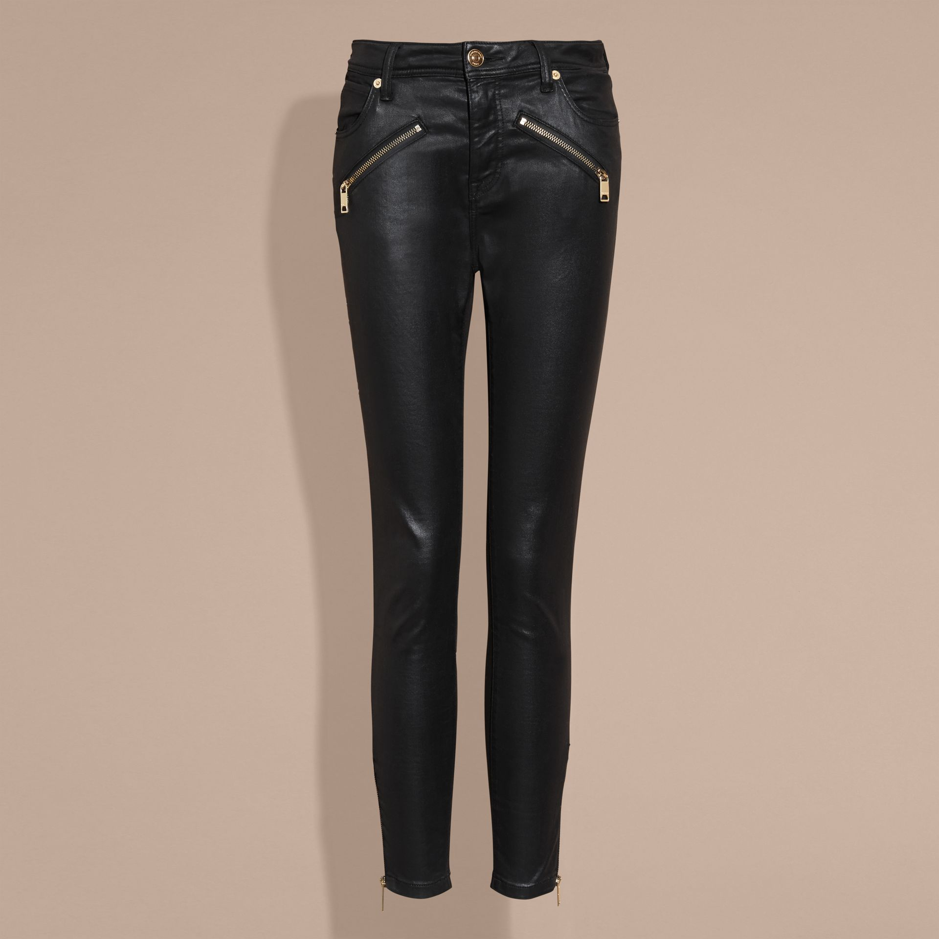 Black Skinny Fit High-rise Coated Stretch Denim Jeans - gallery image 4