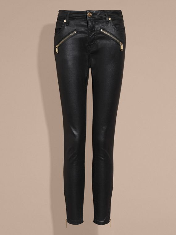 Black Skinny Fit High-rise Coated Stretch Denim Jeans - cell image 3