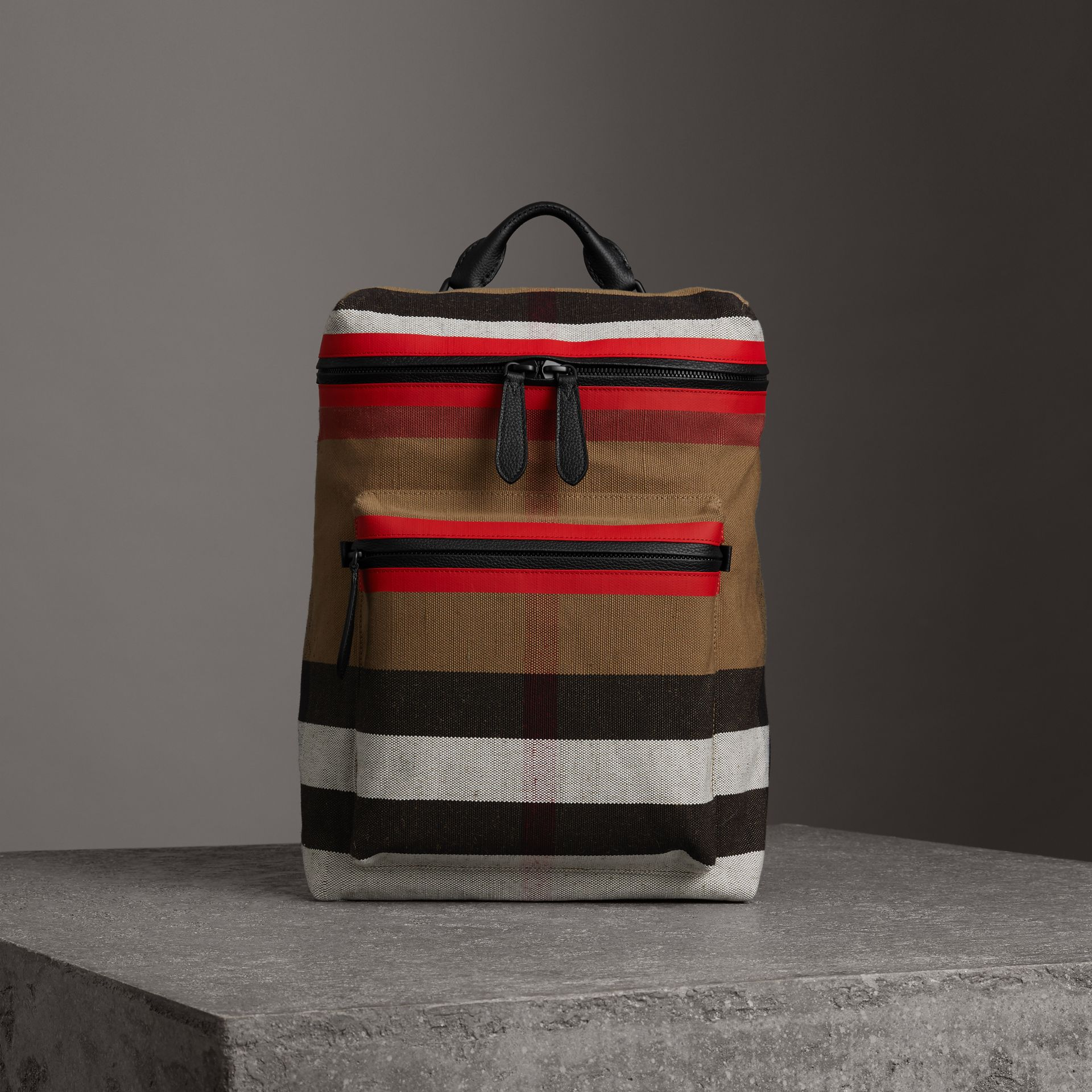 Zip-top Leather Trim Canvas Check Backpack in Military Red/camel - Men | Burberry - gallery image 0