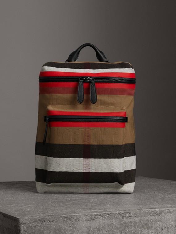 Mochila en tejido de Canvas Checks con cremallera superior y detalles en piel (Rojo Militar / Cámel)