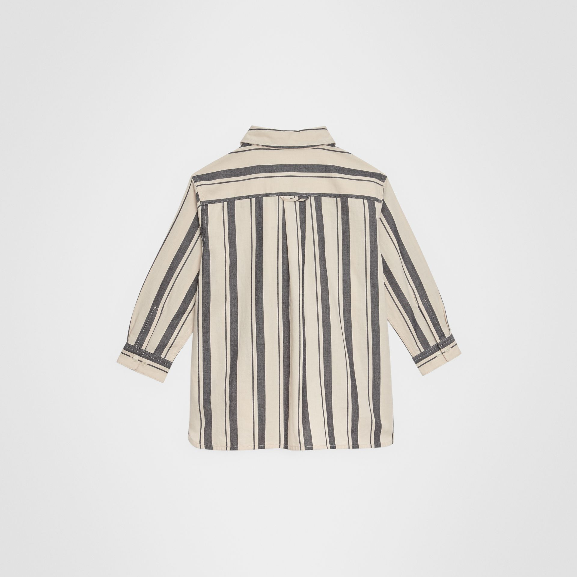 Striped Cotton Wool Shirt in Dark Grey | Burberry - gallery image 3