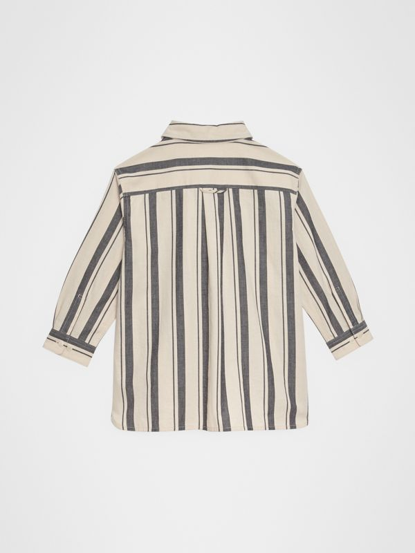 Striped Cotton Wool Shirt in Dark Grey | Burberry Singapore - cell image 3