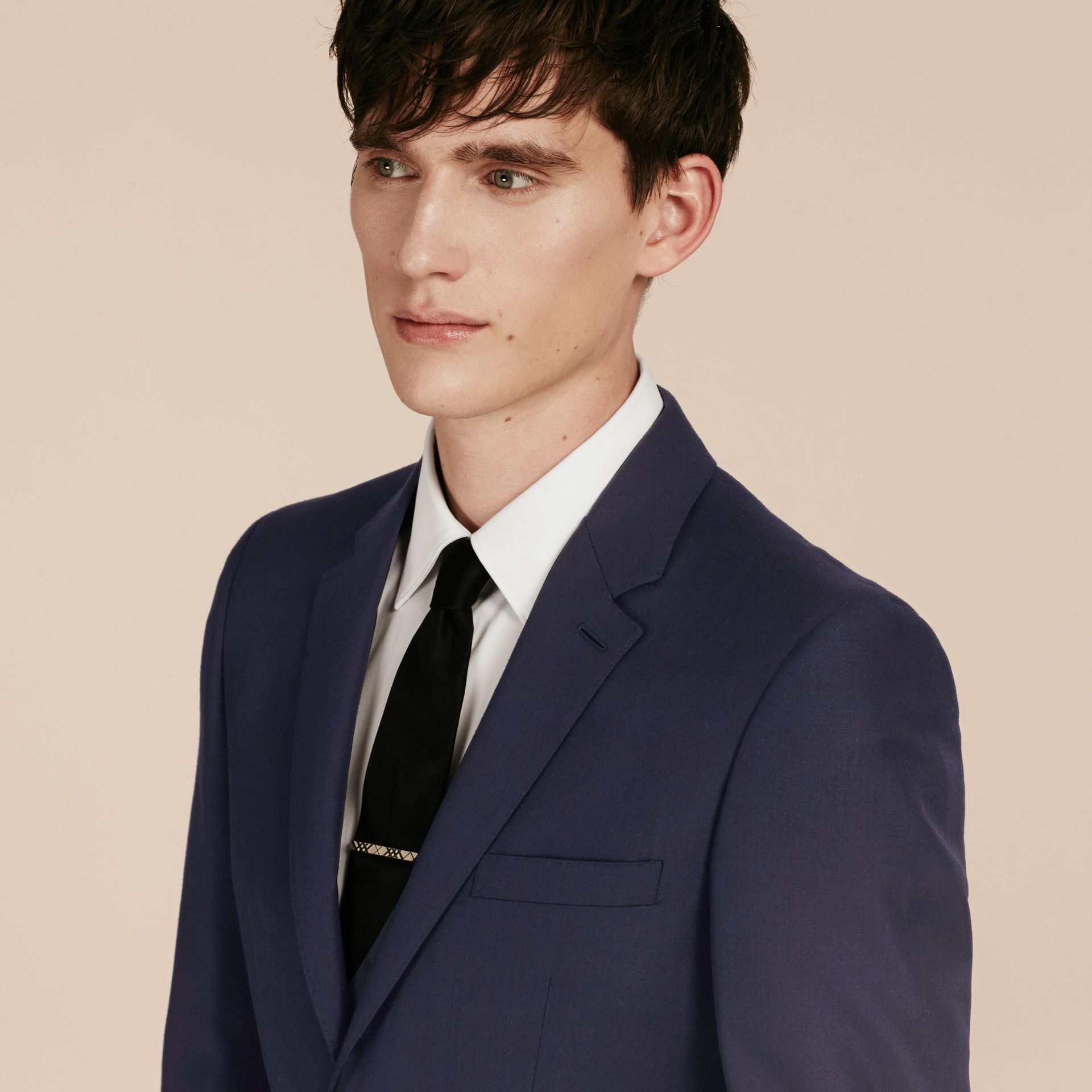 Slim Fit Wool Part-canvas Suit in Navy - Men | Burberry Hong Kong - gallery image 7