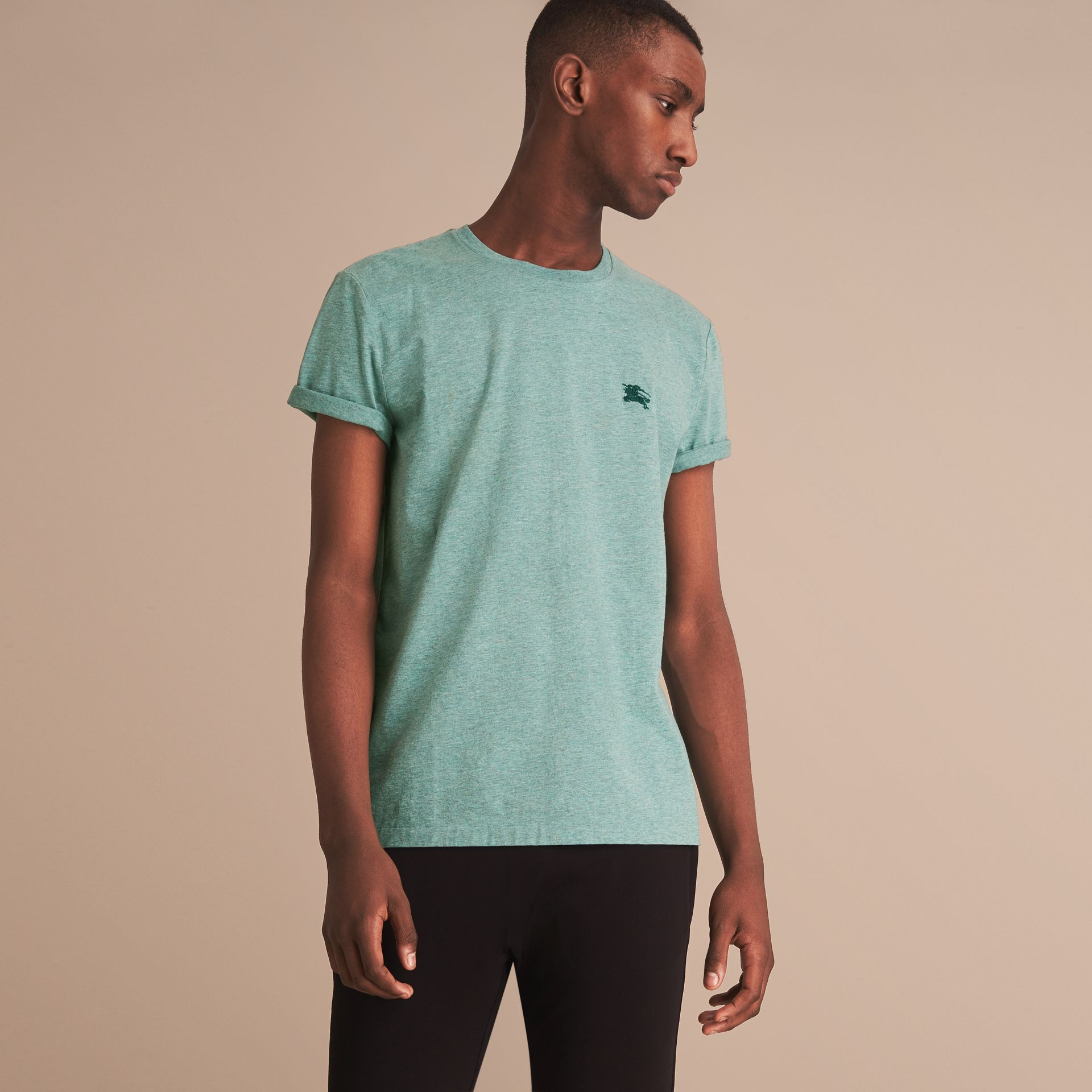 Cotton Jersey T-shirt in Storm Green Melange - Men | Burberry - gallery image 6