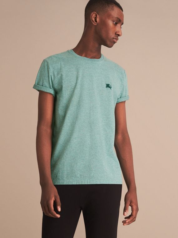 Cotton Jersey T-shirt in Storm Green Melange - Men | Burberry