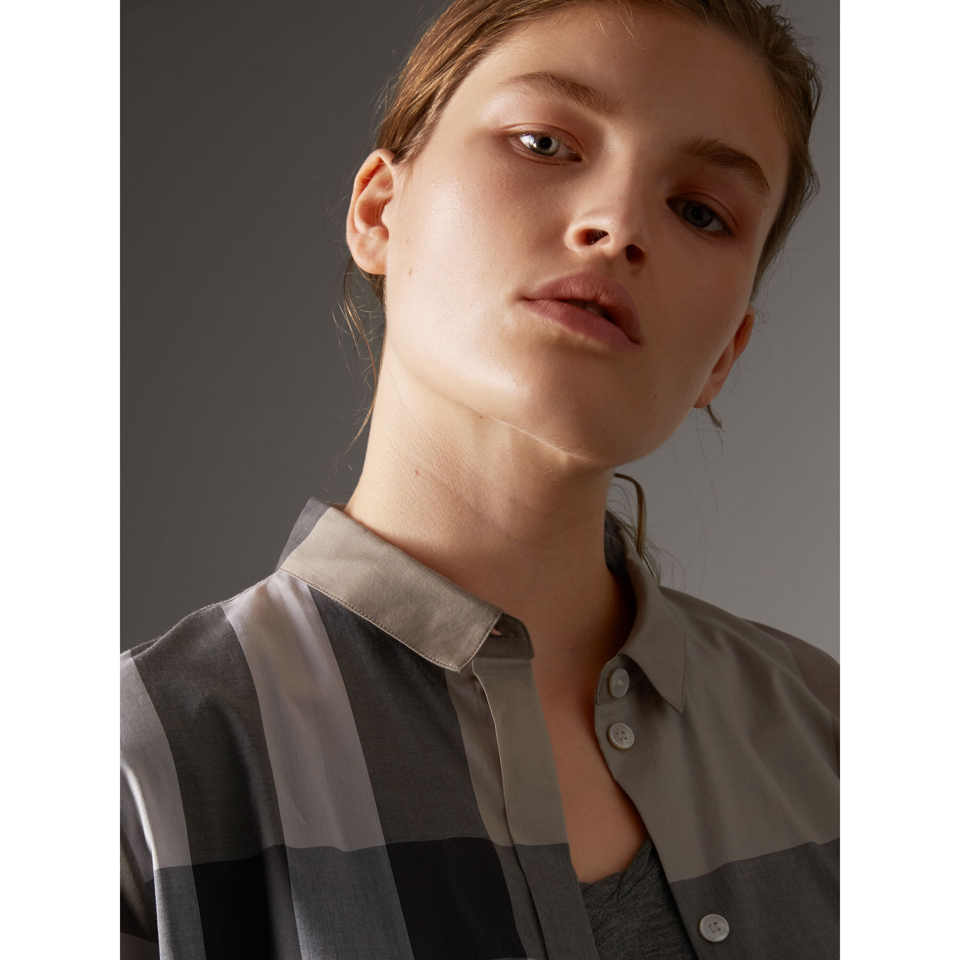 Check Cotton Shirt in Pale Stone - Women | Burberry United Kingdom - gallery image 2