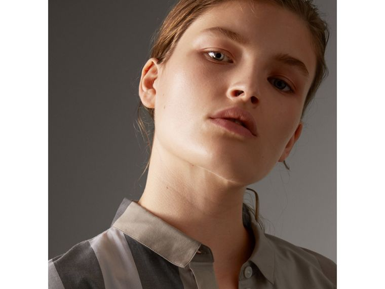 Check Cotton Shirt in Pale Stone - Women | Burberry - cell image 1