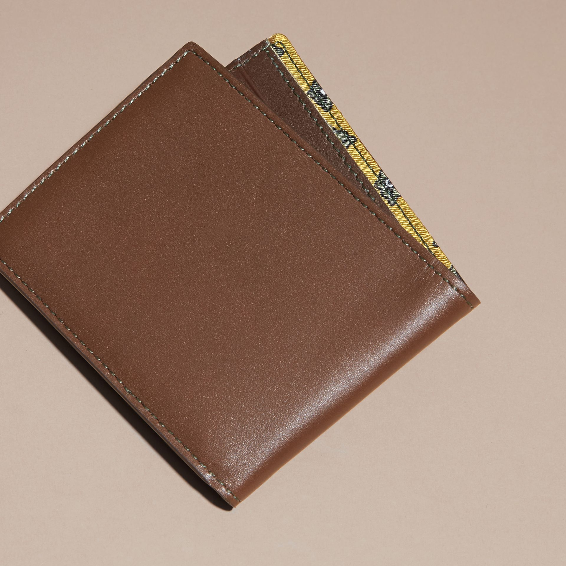 Sepia brown Smooth Leather Folding Wallet with Printed Lining Sepia Brown - gallery image 4